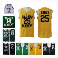 herrero amarillo al por mayor-The Fresh Prince of Bel-Air Academy Versión de la película Jersey cosido 14 Will Smith 25 Carlton Banks Jerseys de baloncesto Negro Verde Amarillo Blanco