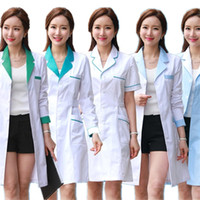 Wholesale work out clothing for women online - 10color Medical Nurse Uniform Lab White Coat Pharmacy Beauty Hospital Clinic Work Wear Uniforms For Women Medical Clothes