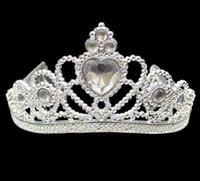 ingrosso fasce di cristallo rosa-XMAS Cosplay Principessa bambini Crown Tiara plastica festa di compleanno favore del regalo di spettacolo di promenade ragazze d'argento della resina di cristallo del cuore fasce