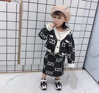 Wholesale knit cardigan outfits for sale - Group buy Lady style children sweater outfits girls letter knitted V neck long sleeve cardigan outwear skirt sets designer kids clothes F10341