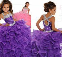 vestidos de baile para o tamanho de meninas venda por atacado-Little Girl's Pageant Vestidos de Festa de Aniversário 2019 Criança Crianças Formal Desgaste Contas de Vestido de Baile Crianças Adolescentes Tamanho 5 7 9