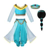 mavi kıyafetler toptan satış-Pettigirl Kızlar Alaaddin'in Lambası Yasemin Prenses Kostümleri Cosplay Cadılar Bayramı Çocuk Parti Hint Prenses Oryantal Dans Elbise G-NBCS1009-2301