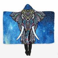 indien elefanten großhandel-Blue India Elephant Kapuzendecke Bohemian Coral Fleece Hoodie Decke weich auf Schlafsofa gewickelt Tücher werfen Decken