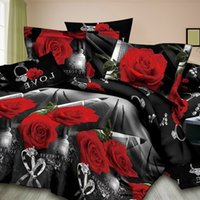 Wholesale purple flower bedding sets for sale - Group buy Urijk New Beautiful D Flower Rose Feast Pattern Bedding Set Bed sheets Duvet Cover Bed sheet Pillowcase