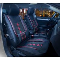 ingrosso auto in cuscino sedile in pelle bianca-Coprisedile anteriore traspirante per seggiolino auto in pelle di seta grado ghiaccio 1pcs Coprisedile universale per accessori interni auto