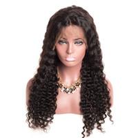 ingrosso profonde bande parrucche ricci-Parrucca riccia Parrucca piena di capelli ricci ricci profondi con frangia in magazzino Parrucca piena di capelli parrucche anteriori in pizzo