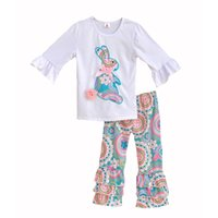 leggings con volantes para las niñas al por mayor-Niñas Conejito de Pascua Patrón Trajes Bebé Paisley Ropa de Punto Conjunto Niños Camisas de Impresión Animal Ruffle Bell Pantalones Leggings Y190518