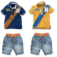 Wholesale boys jeans outfit resale online - Baby Boys Clothing Set Kids Letter Printed Shirt with Jeans Piece Outfit Fashion Summer Boys Clothes