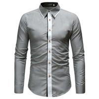 5fbfb7be78 Marca 2019 Moda Hombre Camisa de manga larga Tops Popular Empalme Negro  Mens Dress Shirts Slim Men Shirt M-xxl