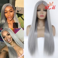 Wholesale Popular fashion grey synthetic lace front wigs long straight hair wig heat resistance with natural hairline fast hand tied