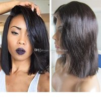 Wholesale best glueless lace front wigs for sale - Group buy Short BOB Full Lace Wig inch Straight Human Hair Best Quality Glueless Lace Front Wig