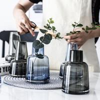 ingrosso mini vasi blu-Contenitori in vetro terrario grigio / blu Mini Piccolo vaso di fiori decorazione domestica Bottiglia Vasi da fiori matrimonio