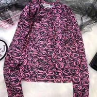 blusas de senhora venda por atacado-Womens Designer Camisa de Manga Longa Tee Primavera Slim Fit Camisa Respirável Marca Tshirts Senhoras Blusa Designer Tops Roupas Femininas