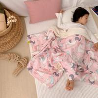 niños de dibujos animados durmiendo al por mayor-9 colores bebé manta recién nacido piel de algodón de dibujos animados impresa comodidad elegante diseñador manta Kids Sleeping appease Suministros Colcha Swaddling