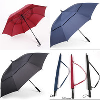 Wholesale large rods resale online - Enlarge Golf Sun On Course Umbrella Double Deck Straight Rod Long Umbrellas Red Blue Black Dry Fast Bumbersoll cr D1