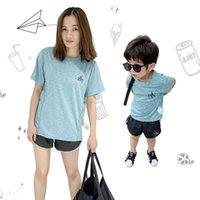 oğlu t gömlekleri toptan satış-Eşleşen Aile Tasarımcı Eşofman Anne Çocuklar Kızı Oğul Ev Tekstili AD Mektup T-shirt + Şort 2 parça Set Çabuk kuru Marka Kıyafet C52505