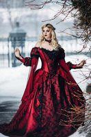 ingrosso vestito da mascherare vittoriano-2019 Gothic Sleeping Beauty Princess Medievale abito da ballo rosso e nero abito da sposa manica lunga pizzo Appliques vittoriano masquerade nuziale