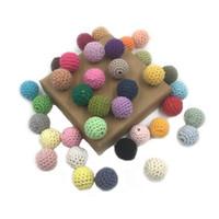 brinquedos crocheting venda por atacado-20mm DIY teether de madeira Chupetas bebê Brinquedos 36 cores Crochet contas feitas à mão pulseira colar jewllery Acessórios LA159