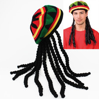 Wholesale fancy skull cap beanie for sale - Group buy Jamaican Knitted Rasta Hair Hat with Dreadlocks Stone Wig Carribean Fancy