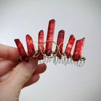 cristal mini coroa de cabelo venda por atacado-Blood Moon Lua tripla e Blood Red Cristal Mini Crown, Quartz Ponto Acessório, Piece Red Hair Celestial, bruxa Jewelrytheof