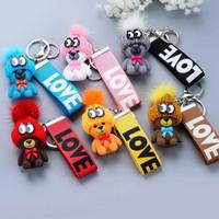 Wholesale women wrist charms resale online - Cartoon Cute Animal Woolen Hat Teddy Bear Keychain Wrist Band Key Ring Women Car Bag Charm Pendant Key Chains Trinket Porte Clef