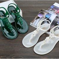 su geçirmez sandalet kadın toptan satış-Kadın Sandalet ayakkabı ayak bileği tuzakları Çiçek jöle ayakkabı yumuşak deri günlük hızlı kuru su geçirmez yaz plaj rahat Sandalet