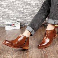 spitzleder mens stiefeletten großhandel-Basic Black Mid-Boots Mode Samt erhöhen Schnür- und Reißverschluss Knöchel Mens Pointed Toe Kleid Oxfords Schuhe Männer Kleid Lederstiefel