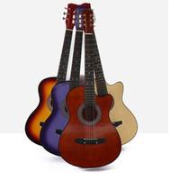instrumentos de bordo venda por atacado-Frete grátis Direto Da Fábrica 38 polegada violão estudante adulto novato guitarra canto de madeira corda de aço guitarra presente instrumento musical