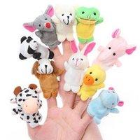peluş hayvan parmak kuklaları toptan satış-10 ADET Sevimli Hayvan Parmak Kukla Peluş Oyuncaklar Çocuk Bebek Favor Bebekler Erkek Kız Karikatür Parmak Kuklaları Biyolojik