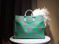 cuero de damas modernas al por mayor-verde M44571 bolso de compras de gran tamaño bolso de señora moderno bolso de un solo hombro 44571 cuero de alta calidad tamaño: 41 * 34 * 19 cm ceja de regalo postal