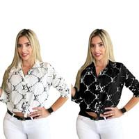 blusa tops designs venda por atacado-Mulheres Moda T shirt de manga comprida de abertura de cama Collar Blusa Camisas Luxury Design T-shirt Camicia Carta Imprimir Blusas Outono Top Vestuário INS
