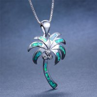 Wholesale blue fire opal pendants resale online - Cute Female Big Coconut Tree Pendants Necklaces Boho Blue Green Fire Opal Stone Necklace Fashion Wedding Necklaces For Women