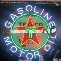 ingrosso motore a segno al neon-LINEA GAS LINEA MOTO TEXACO Personalizzato Neon Sign Light Outdoor Beer Entertainment Display Vetro Lampada al neon Light Metal Frame 17 '' 20 '' 24 '' 30 ''