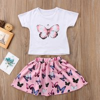 kelebek tarzı elbiseler toptan satış-Tatlı Yaz Tarzı Iki Parçalı Set Kız Kelebek Baskılı T-shirt ve Etek Elbise Seti Kıyafetleri Giysileri Moda Üst # 1123