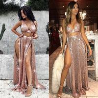 robes de soirée achat en gros de-Sexy Sparkly col en V Crop Top sequin Robes de bal 2020 longue fendus Robes de soirée pour les femmes Gala Vestido