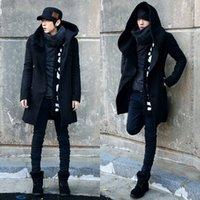 korean moda uzun ceket erkek toptan satış-Uzun Trençkot Erkekler 2017 Yeni Moda Erkek Palto Lacivert ve Siyah Çift Düğme İnce Kore Kapşonlu Hendek Coats 3XL