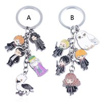 Wholesale figures toys harry potter online - Harry Potter Key ring toy New Cartoon movie harry potter owl college alloy metal figure Keychain Toys B