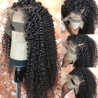peruk tam kıvırcık toptan satış-Kinky kıvırcık İnsan saç dantel peruk kinky curl tam dantel ve bebek saç ücretsiz nakliye ile dantel ön peruk