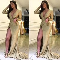 Wholesale nude art pictures resale online - Plus Size Shiny Gold Sequins Mermaid Evening Dresses Sexy Front Split V Neck Modest Long Sleeves Evening Prom Gowns BC0727