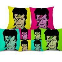Wholesale pop art pillows cases resale online - 5 Styles David Bowie Portrait Cushion Covers Modern Home Rock And Roll Music POP Art Cushion Cover Decorative Linen Pillow Case