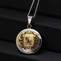 ingrosso pendenti di capricorno-Capricorno coreano paio collana di titanio acciaio di Hip Hop della costellazione collana Capricorno Pendant