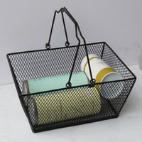 Wholesale handled storage basket resale online - 10pcs Black Cosmetics Storage Baskets Hollowed Out Design Skep With Handle Iron Wire Mesh Shopping Basket