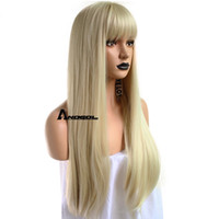 ingrosso le parure delle frange delle parrucche-Anogol Blonde 613 Parrucca sintetica con frangia frangia lunga ondulata parrucca Peluca