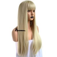 perucas fringes bangs venda por atacado-Anogol Loira 613 Peruca Cabelo Sintético Com Franja Franja Longo Ondulado Perucas Peluca