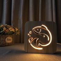 3d schlafzimmer design großhandel-3d holz nachtlicht fisch design lampe für schlafzimmer baby schlaf nacht lampe kinder geschenke usb powered led holz tischlampe
