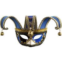 seksi adam maskeli toptan satış-Yarım / Tam Yüz Erkekler Venedik Tiyatrosu Jester Joker Masquerade Bells Ile Maske Cadılar Bayramı Çift seksi flört maske