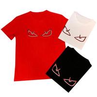 komik gömlek çift toptan satış-Erkek Tasarımcı T Shirt Yaz Kısa Kollu Komik Emoji için Baskılı Tees 3 Renkler Sokak Stil Çift T Gömlek EUR Boyutu