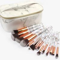 machen pinsel set kits großhandel-Marmor Make-up Pinsel Set Powder Foundation Lidschatten Augenbrauen Wimpern Lip Make-up Pinsel Kits Mit Make-up Tasche 15 Teile / satz RRA858