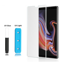Wholesale tempered glass online - 3D Curved Full Adhesive Glue Case Friendly Tempered Glass For Samsung S10 Note S9 S8 Plus S7 Edge UV Light