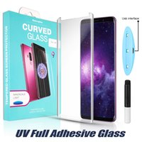 Wholesale 3d tempered glass for sale - Full Adhesive Case Friendly Full Glue Curved Edge Glass for iPhone Plus Note Liquid Dispersion Tech with UV Light Protector in Box